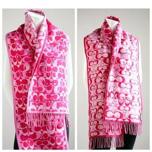 Coach Pink Monogram Print Double Reversible Scarf